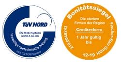 Bautechnische Prüfungen vom TÜV Nord - auch bei Ihrem neuen Massivhaus von Fischer-Bau / Bonitätssiegel Credit-Reform.